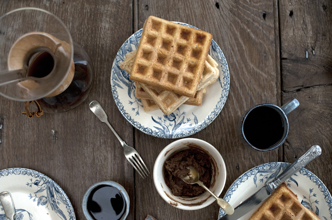 Sourdough waffles with cinnamon brandy butter