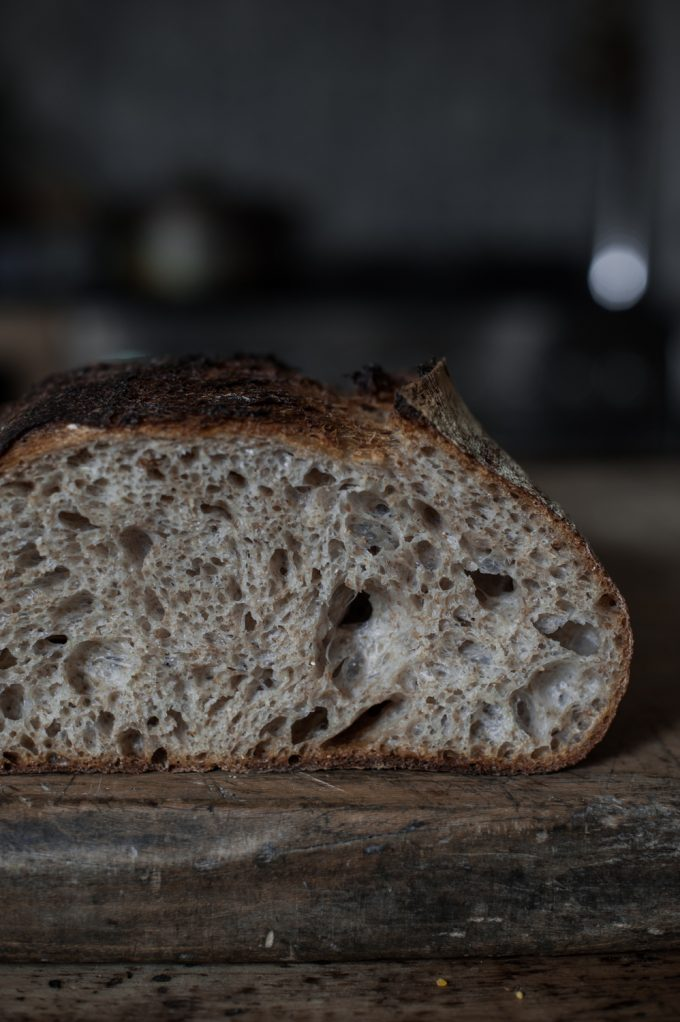 open crumb sourdough bread
