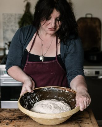 Vanessa mixing sourdough